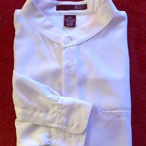 White Collarless Dress Shirt Size Large